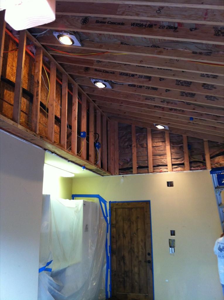 Garage drywall texturing before elegant
